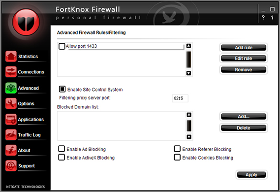 FortKnox Firewall, Network Security Software Screenshot