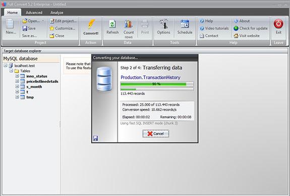 Full Convert Enterprise, Database Conversion Software Screenshot