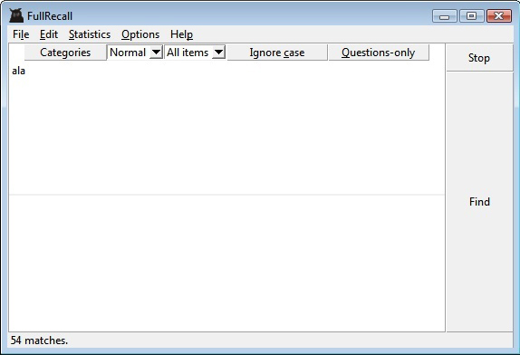 FullRecall, Educational Software Screenshot