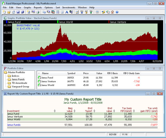 Fund Manager Personal, Portfolio Management Software Screenshot