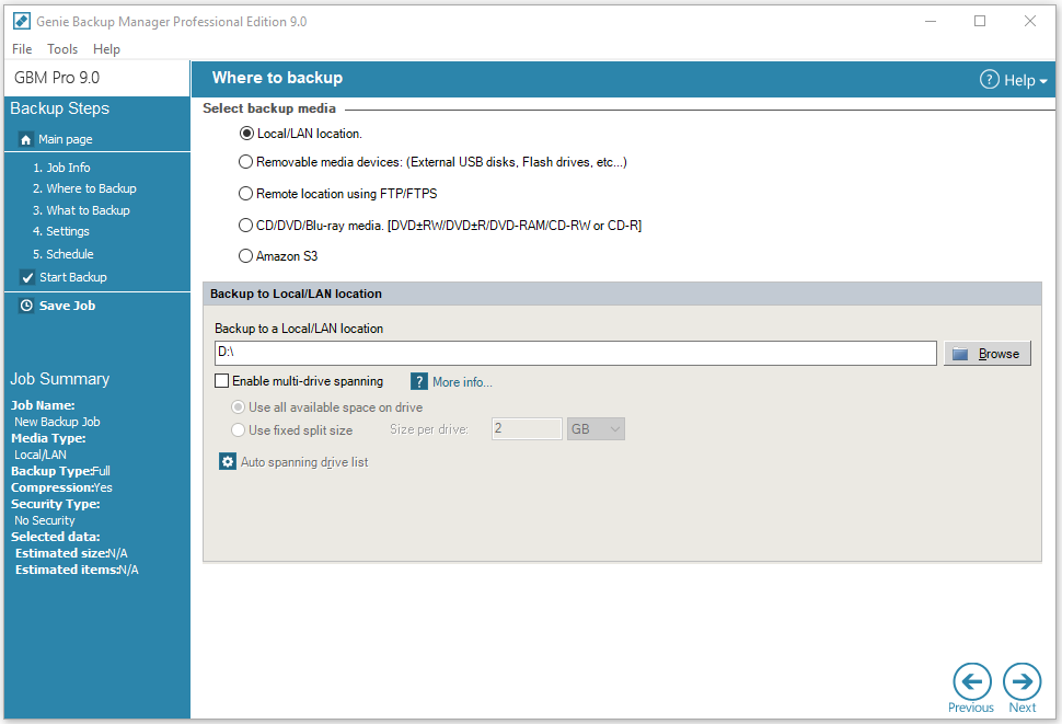 Security Software, Genie Backup Manager Professional Screenshot
