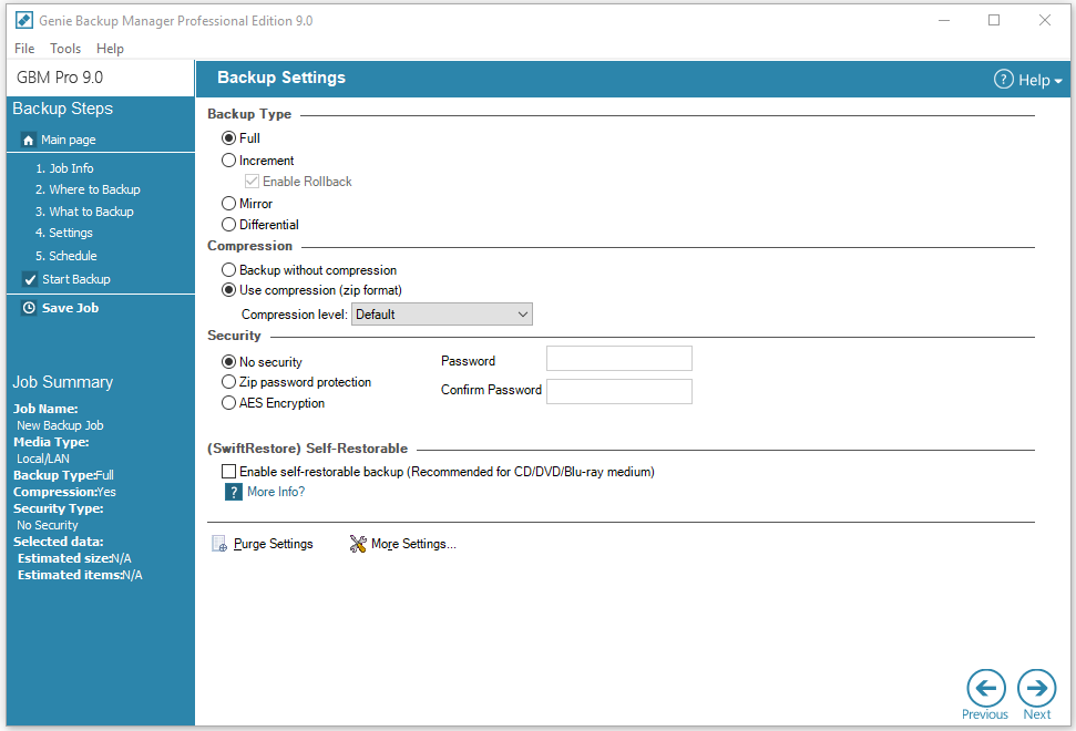 Genie Backup Manager Professional, Security Software Screenshot