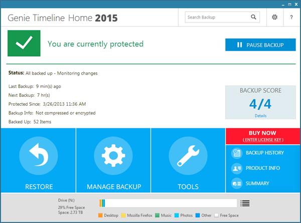 Genie Timeline Backup Home Screenshot