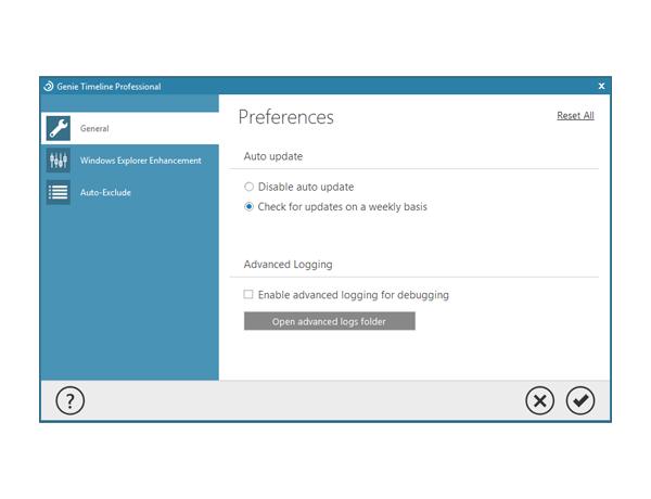 Genie Timeline Professional, Backup and Restore Software Screenshot