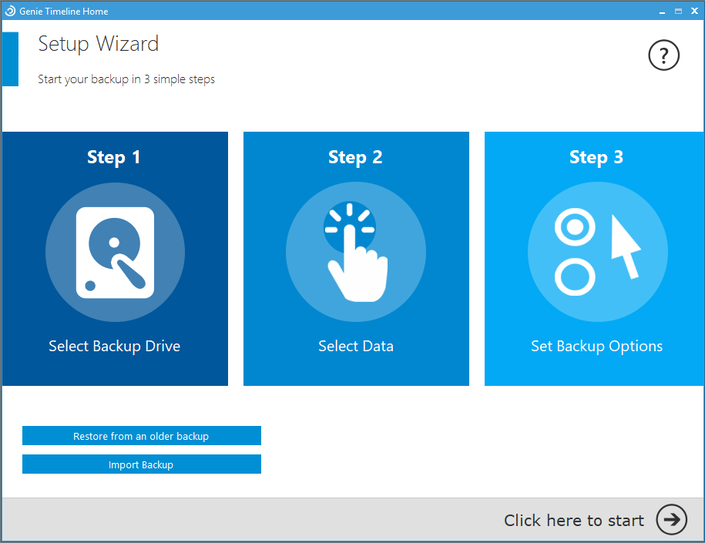 Backup and Restore Software, Get Genie Timeline Home Free Screenshot