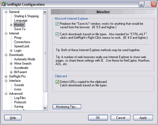 GetRight, Internet Download Manager Software Screenshot