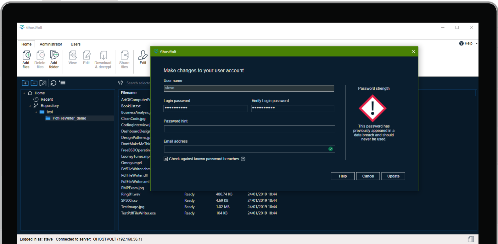 General Security Software, GhostVolt Screenshot