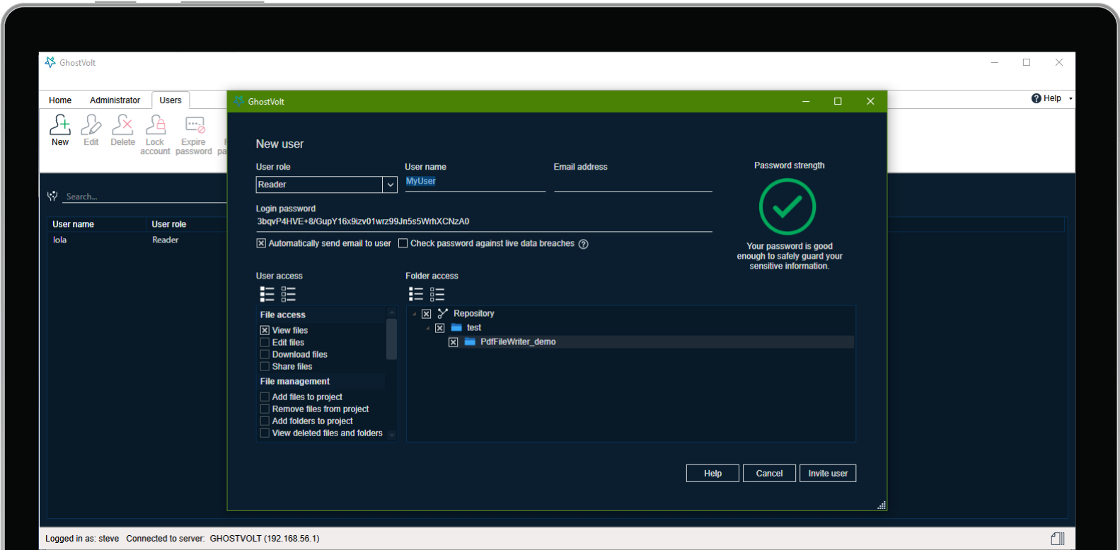 GhostVolt, Security Software Screenshot