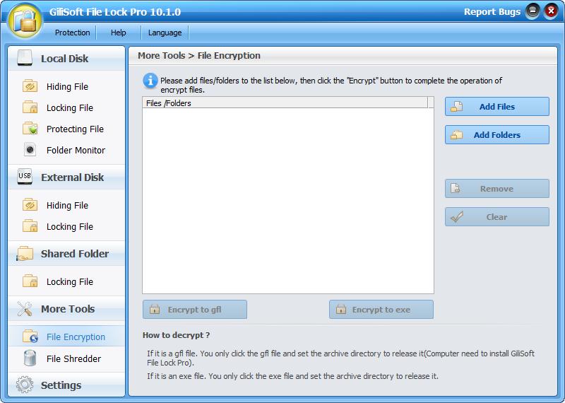 Access Restriction Software, GiliSoft File Lock Pro Screenshot