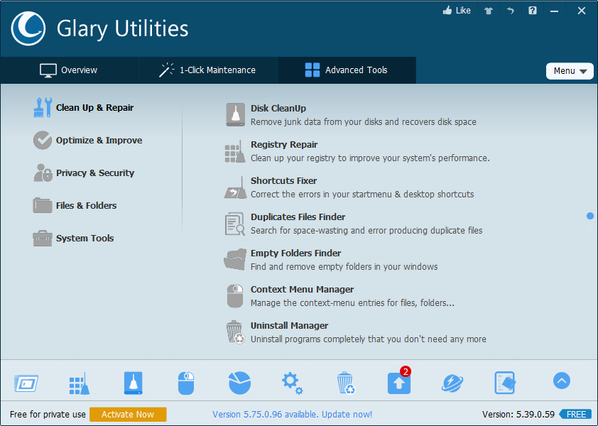 Glary Utilities PRO, System Stability Software Screenshot