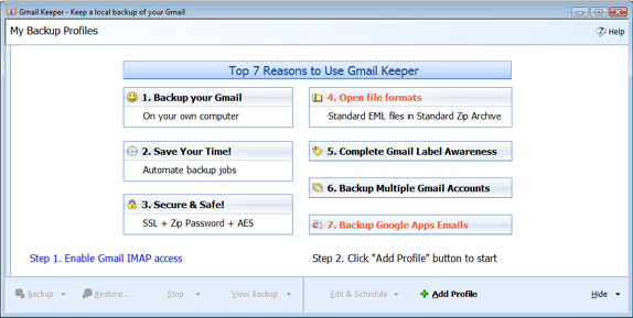 Backup Email Software, Gmail Keeper Screenshot