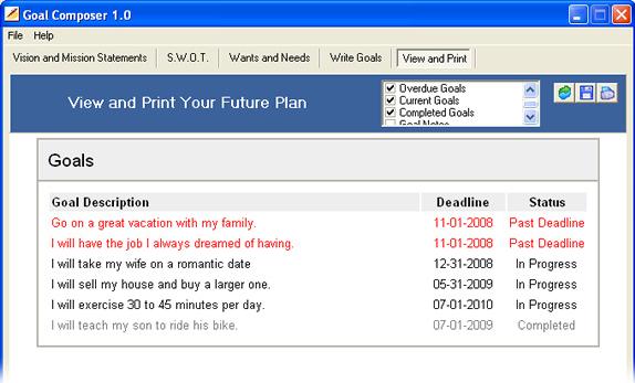 Notes Software, Goal Composer Screenshot