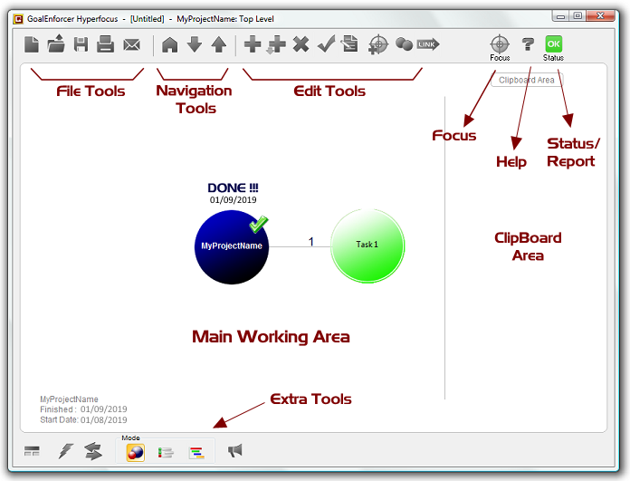 GoalEnforcer Hyperfocus, Mind Mapping Software Screenshot