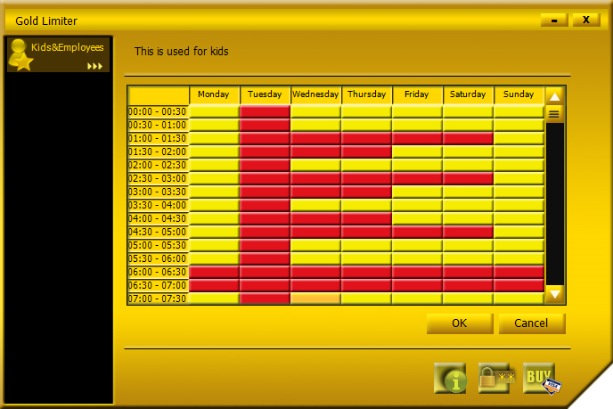 Gold Limiter, Access Restriction Software Screenshot