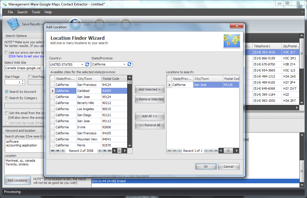 Google Maps Contact Extractor v2.0, Internet Software Screenshot