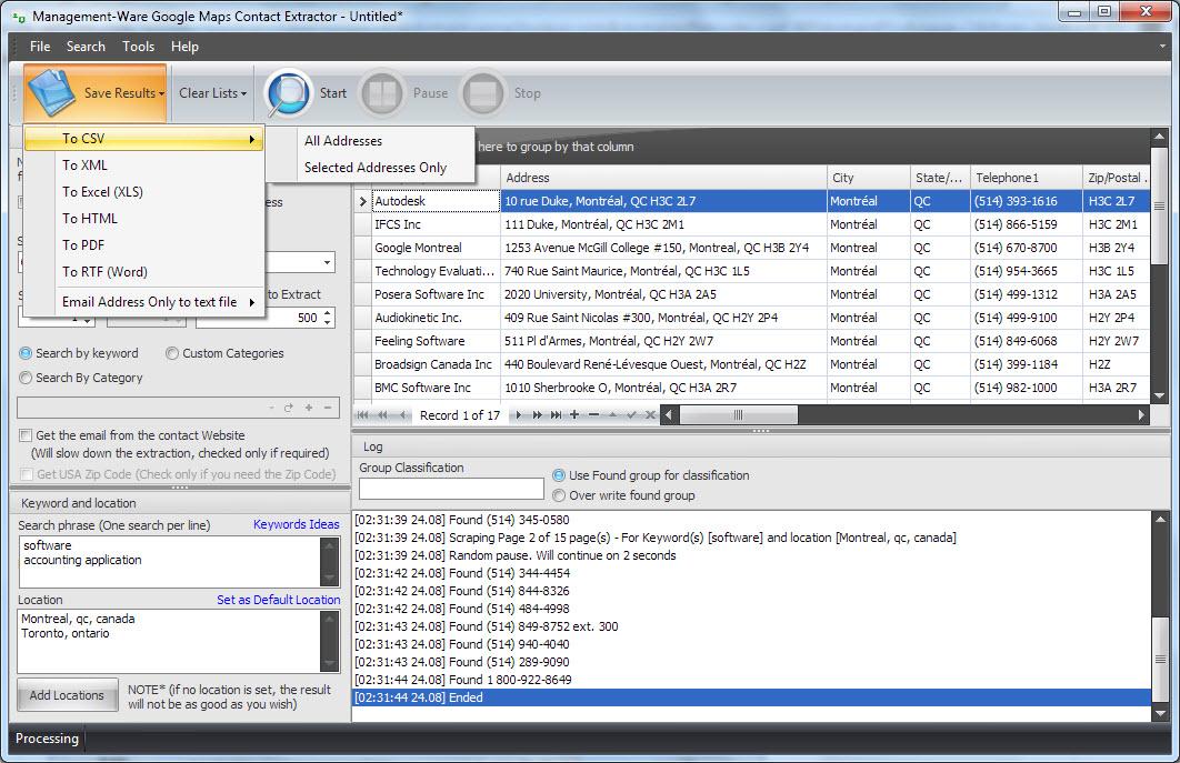 Google Maps Contact Extractor v2.0, Website Scraping Software Screenshot