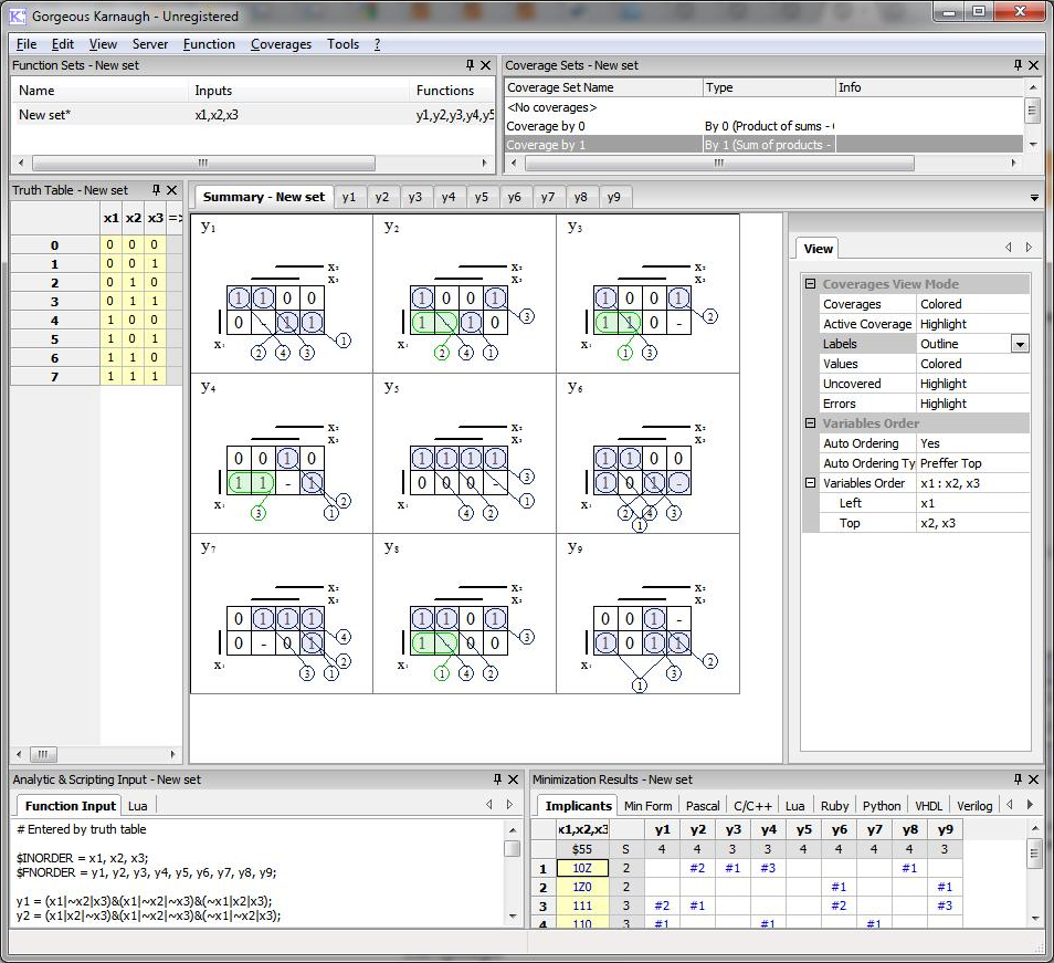 Gorgeous Karnaugh Standard, Development Tools Software Screenshot