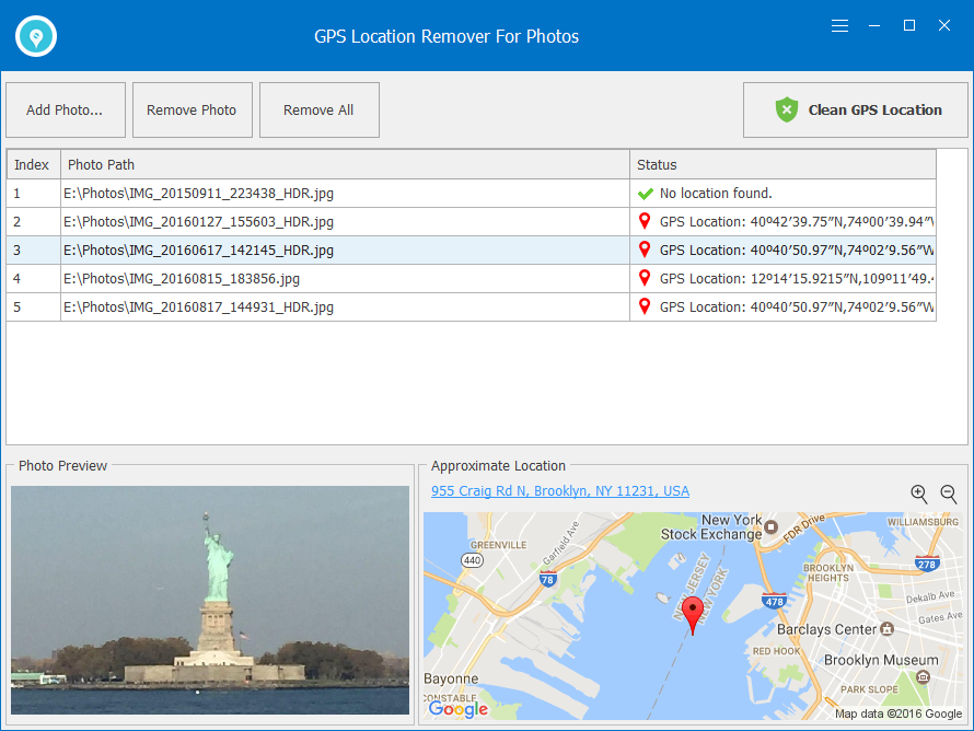 GPS Location Remover For Photos Screenshot