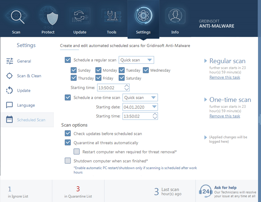 Gridinsoft Anti-Malware, Antivirus Software Screenshot