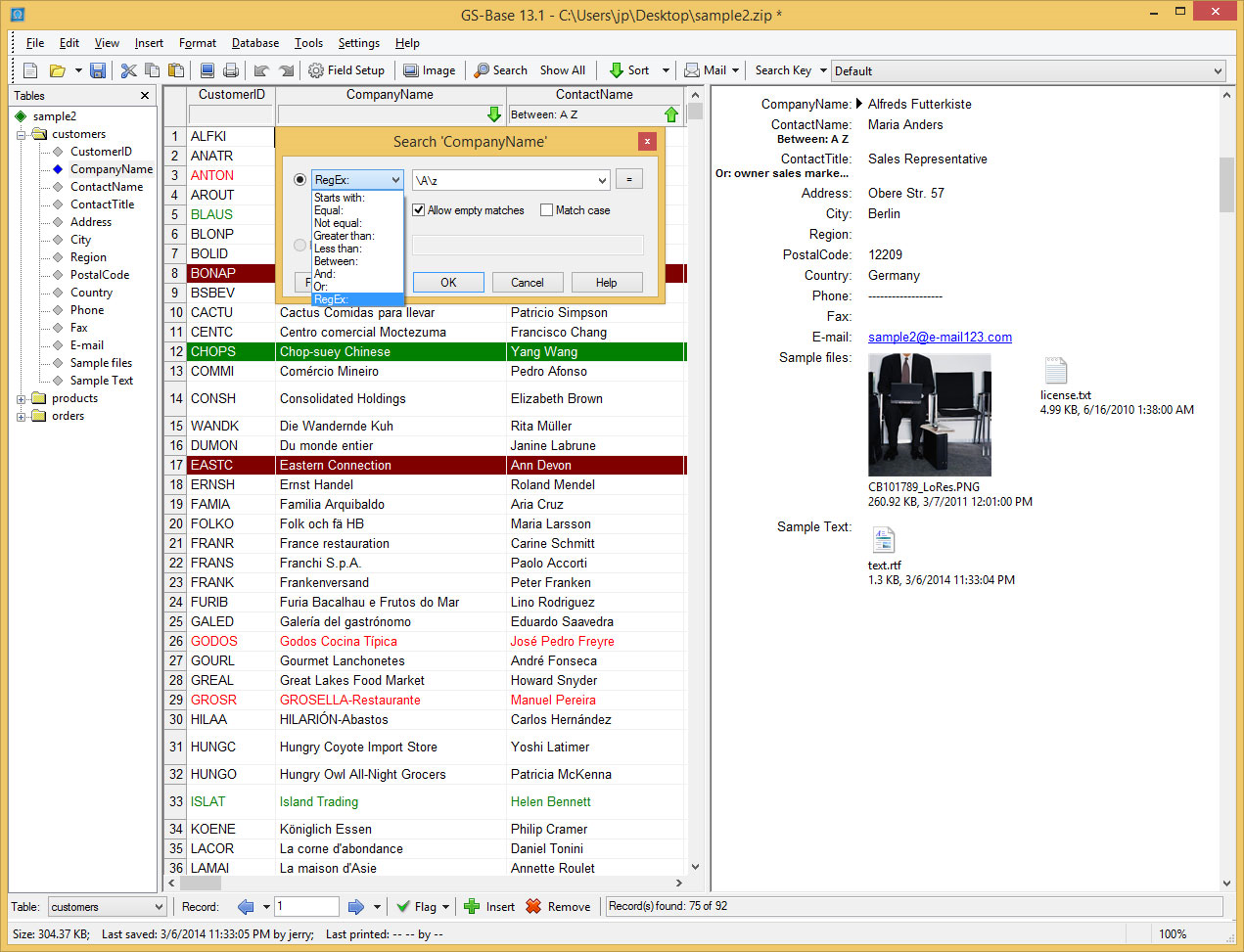 Database Software Screenshot
