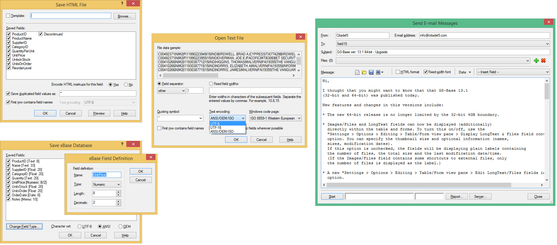 GS-Base, Database Software Screenshot