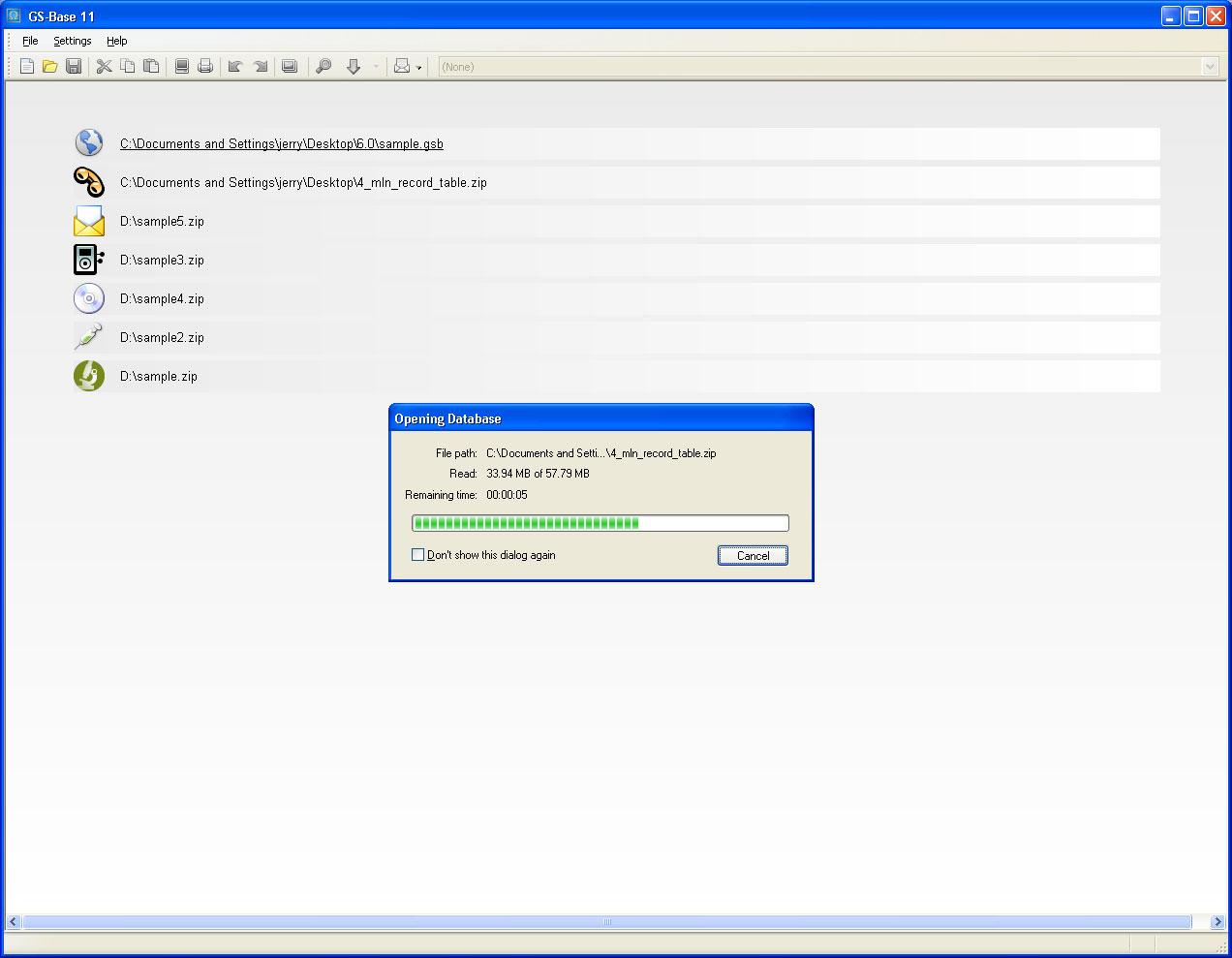 GS-Base, Development Software, Database Software Screenshot