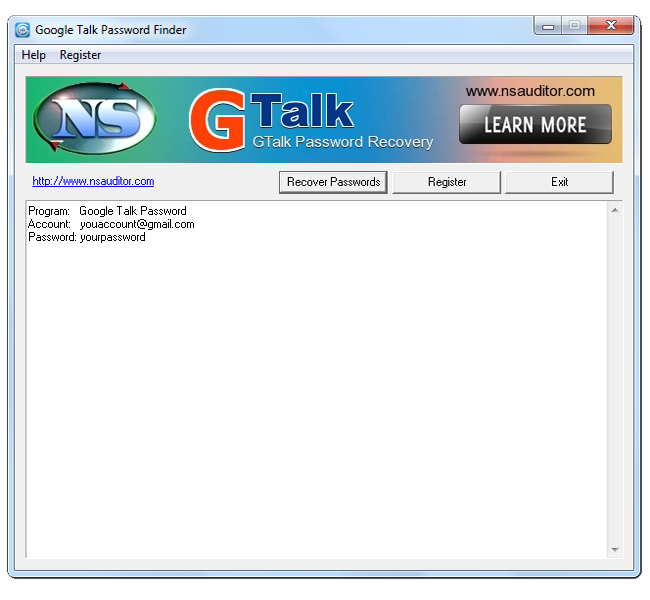 GTalk Password Finder Screenshot