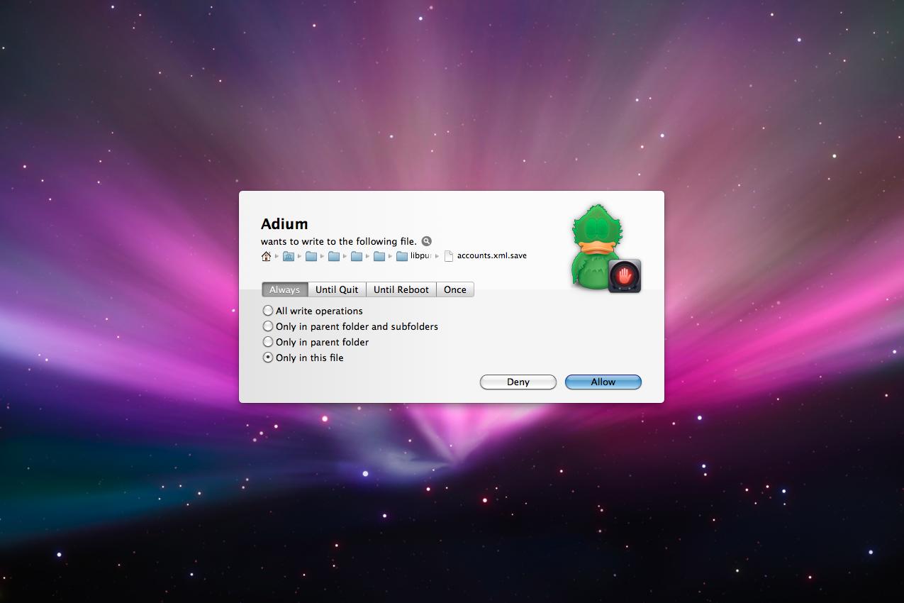 Hands Off!, Access Restriction Software Screenshot