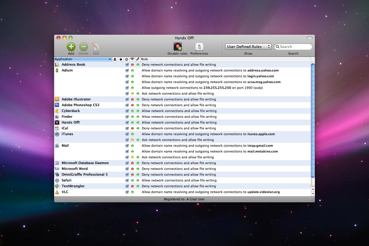 Hands Off!, Security Software Screenshot