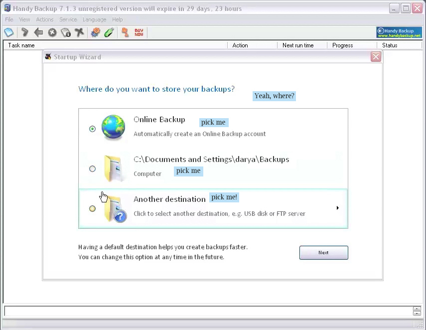 Handy Backup Home Professional, Security Software, Backup and Restore Software Screenshot