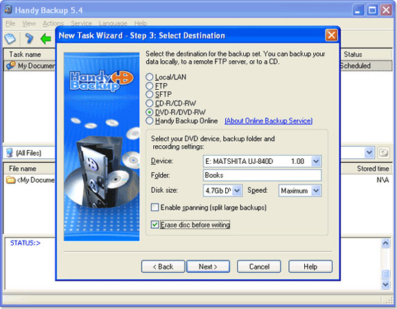 Handy Backup Home Standard, Backup Files Software Screenshot
