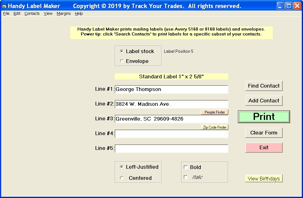 Contact Management Software Screenshot