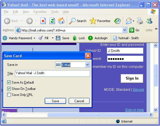 Handy Password, Password Manager Software Screenshot