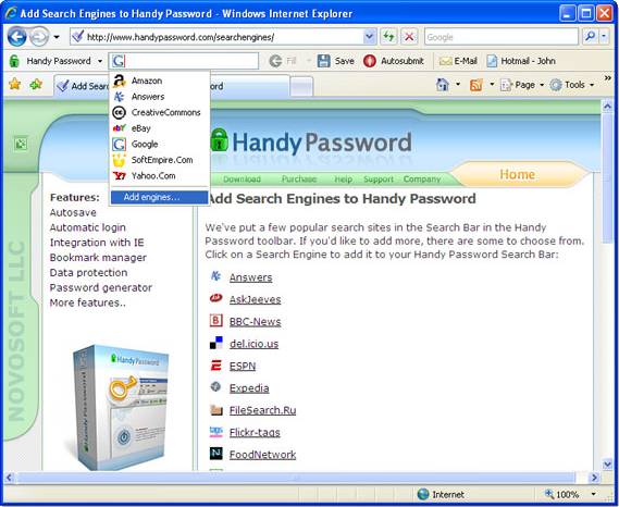 Handy Password, Security Software Screenshot