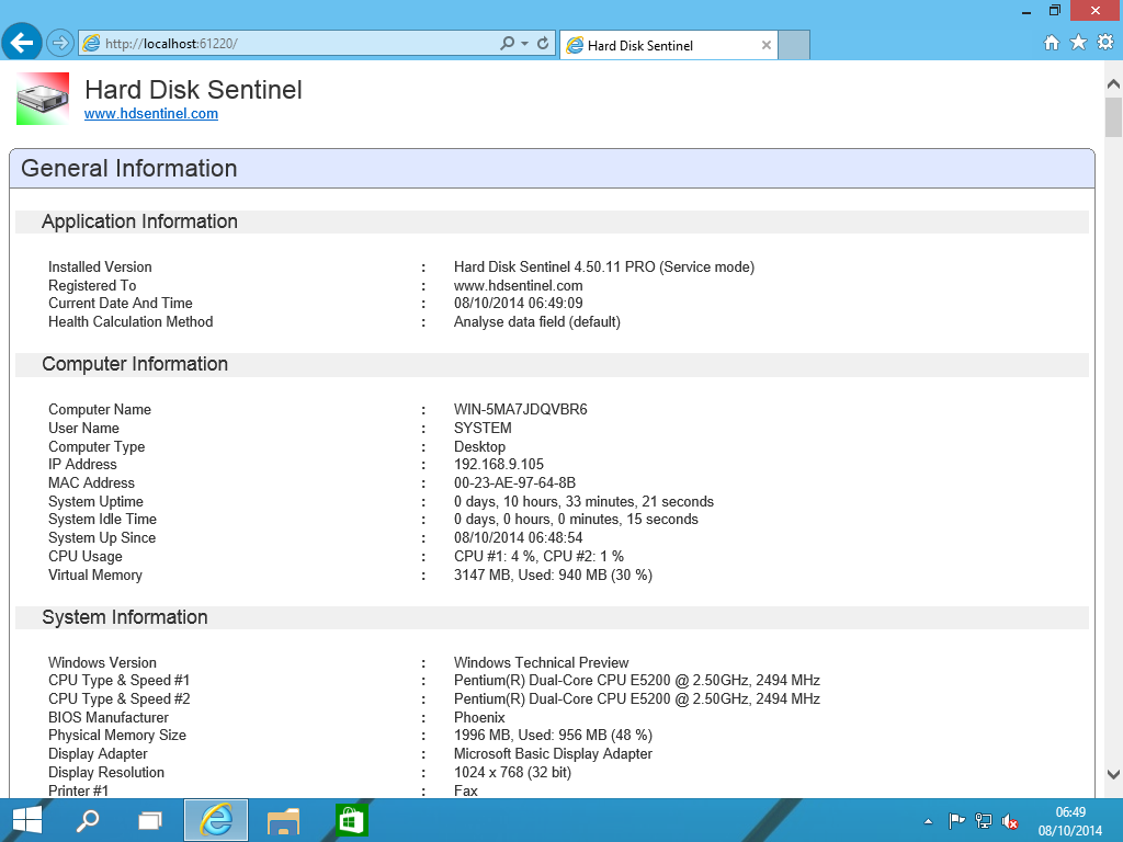 Hard Disk Sentinel Professional Family Screenshot 8
