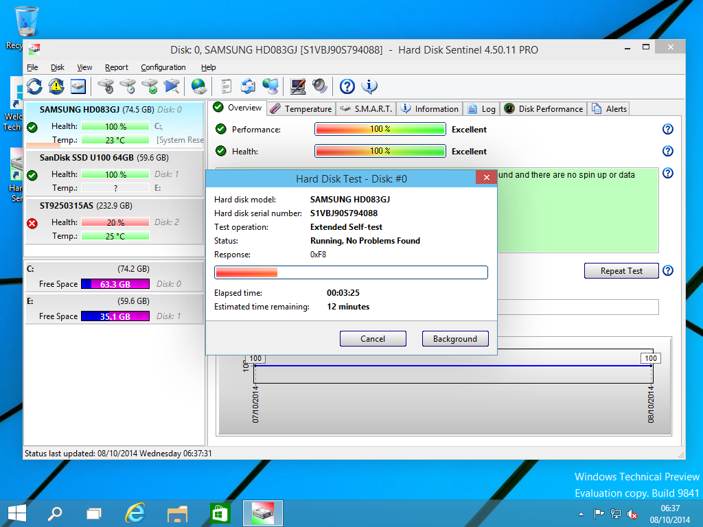 Hard Disk Sentinel Professional Family, Hard Drive Software Screenshot