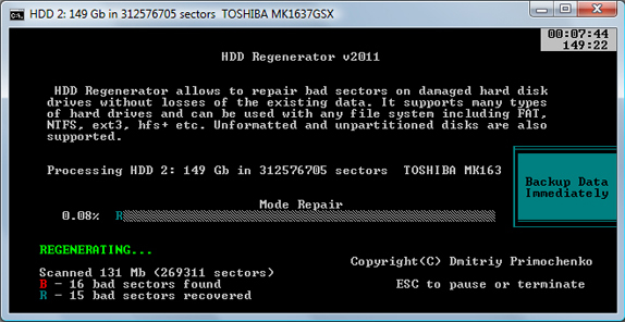 HDD Regenerator, Recovery Software Screenshot