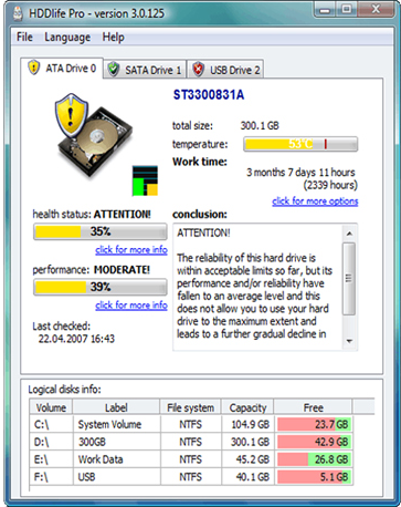 HDDlife for Notebooks, Hard Drive Software Screenshot