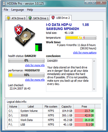 HDDlife for Notebooks, Software Utilities Screenshot