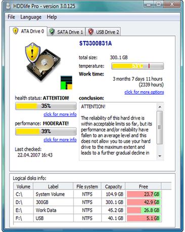 HDDlife Pro, Hard Drive Software Screenshot