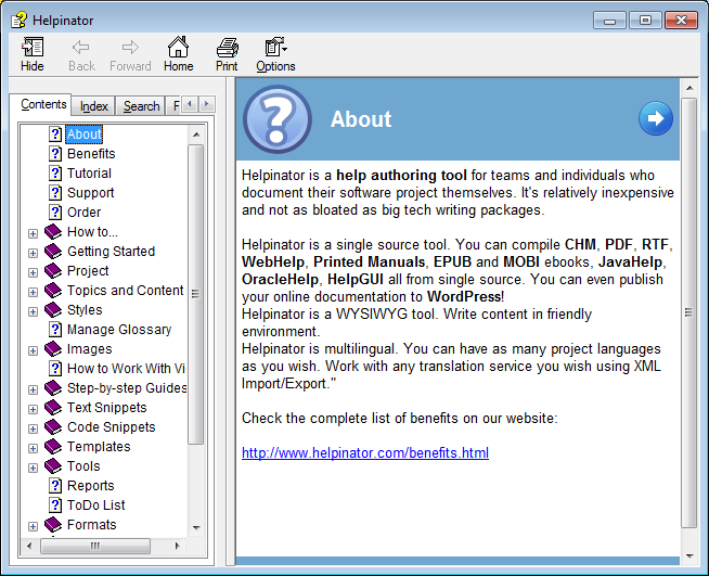 Helpinator, Development Software Screenshot