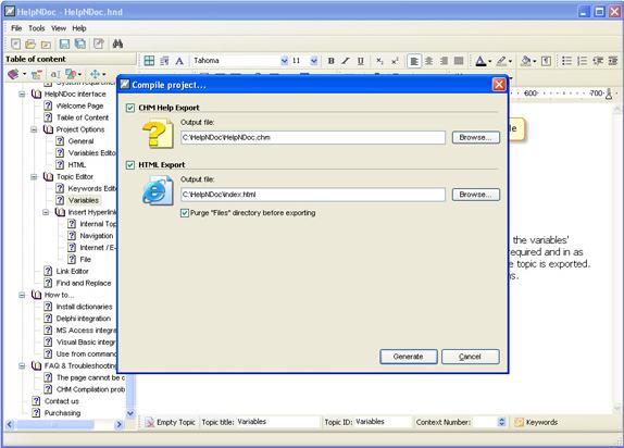 Development Software, HelpNDoc Standard Edition Screenshot