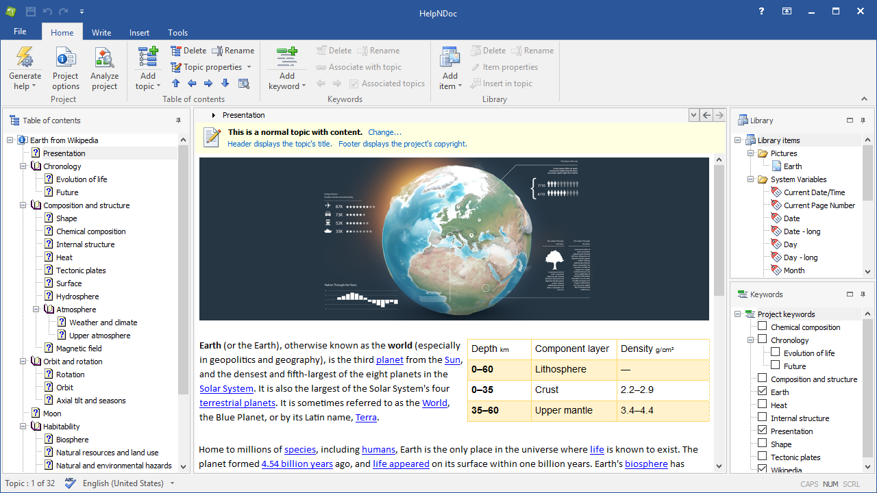 HelpNDoc Professional Edition Screenshot