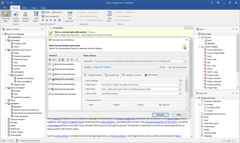 HelpNDoc Professional Edition, Development Software Screenshot