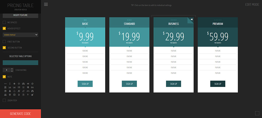 Hexagonium - Pricing Tables Creator, Development Software Screenshot