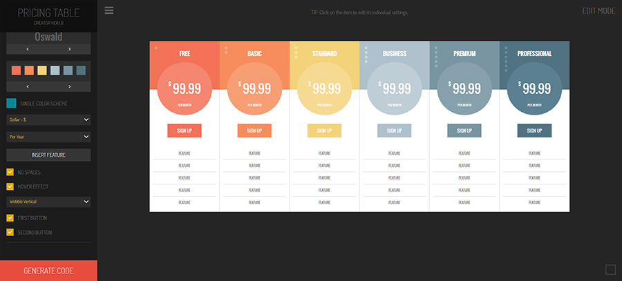 Hexagonium - Pricing Tables Creator Screenshot