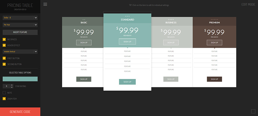 Hexagonium - Pricing Tables Creator, Web Development Software Screenshot