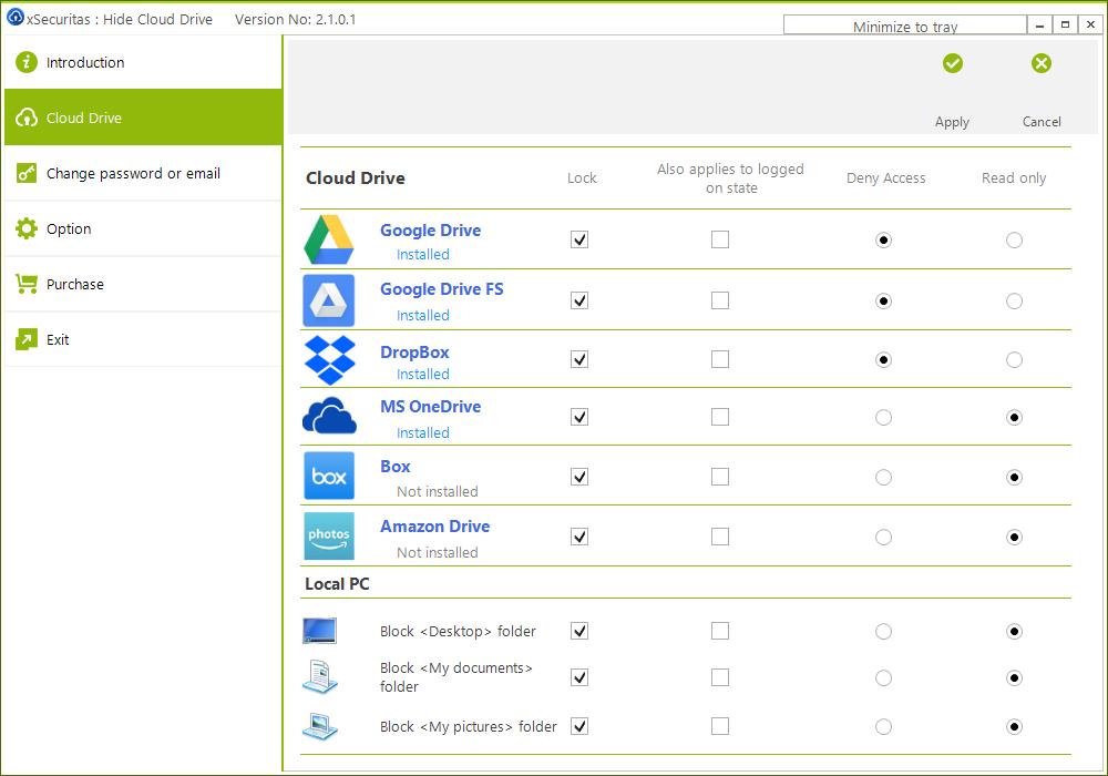 Hide Cloud Drive Screenshot