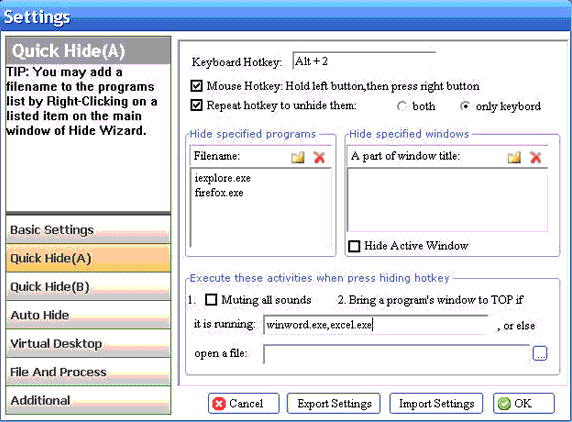 Hide Wizard, Privacy Software Screenshot