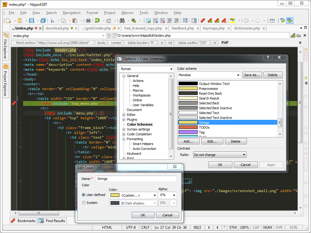 HippoEDIT, Code Editor Software Screenshot
